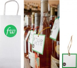 Frankly Wines shopping bag and bottle tags