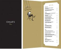 Omar's wine menu