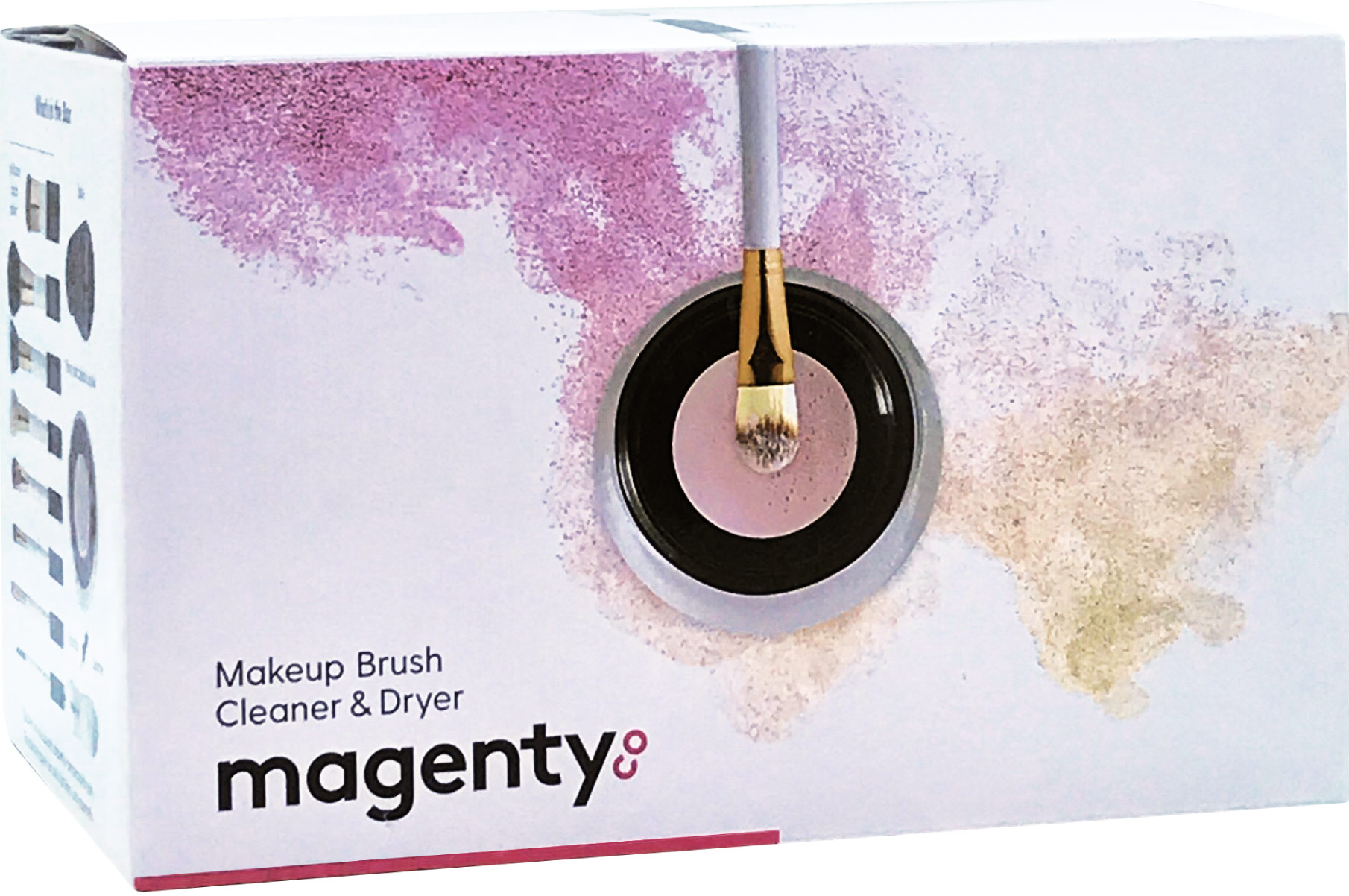 magenty makeup brush cleaner and dryer package design